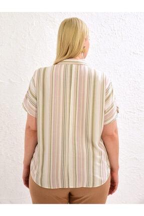 LC Waikiki Kadın Pembe Çizgili Gömlek 3