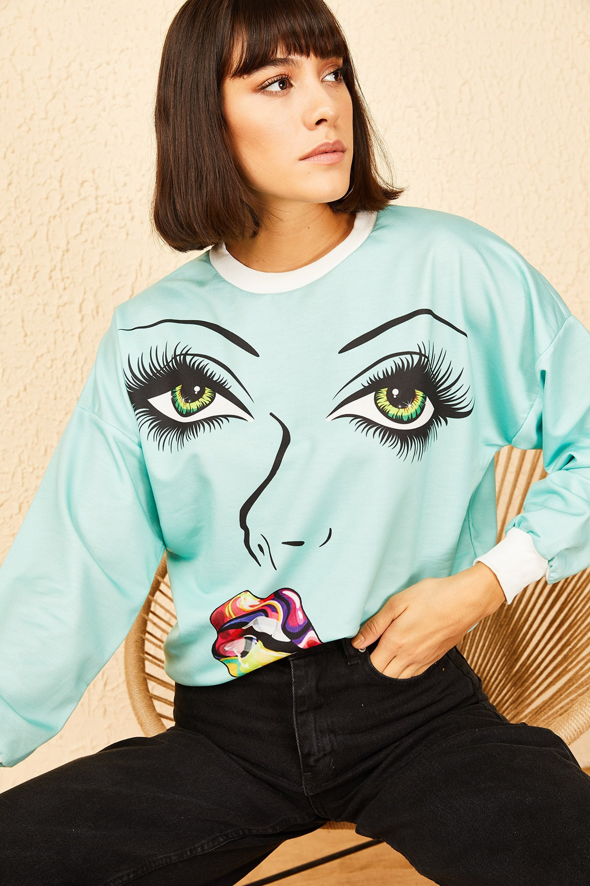 Bianco Lucci Kadın Yeşil Göz Baskılı Sweatshirt