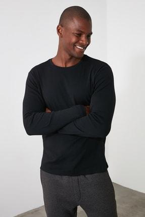 TRENDYOL MAN Siyah Erkek Slim Fit Bisiklet Yaka Uzun Kollu Basıc T-shirt TMNAW20TS0199 1