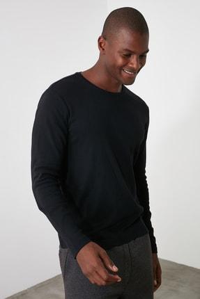 TRENDYOL MAN Siyah Erkek Slim Fit Bisiklet Yaka Uzun Kollu Basıc T-shirt TMNAW20TS0199 2