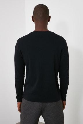 TRENDYOL MAN Siyah Erkek Slim Fit Bisiklet Yaka Uzun Kollu Basıc T-shirt TMNAW20TS0199 4