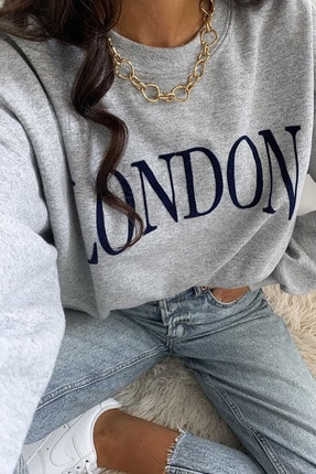 Madmext Mad Girls Gri Kadın Sweatshirt MG699 2