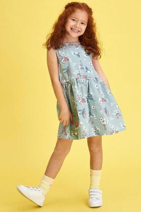 Defacto Kız Çocuk Çiçek Baskılı Kolsuz Elbise 1