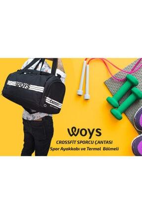 woys Unisex Siyah Bölmeli Sporcu Çantası 4