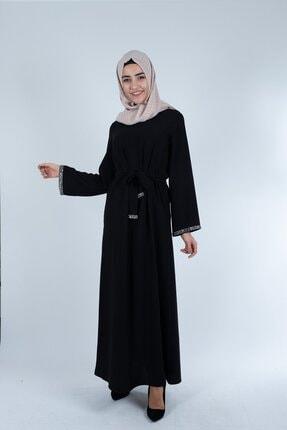 Setrine Kadın Siyah Kol Ve Kuşak Taşlı Elbise 0