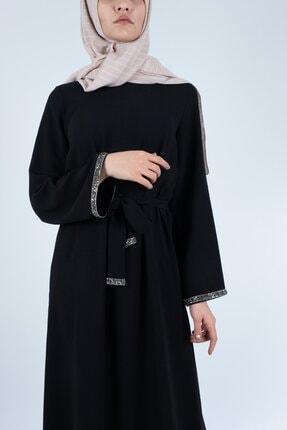 Setrine Kadın Siyah Kol Ve Kuşak Taşlı Elbise 2