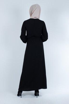 Setrine Kadın Siyah Kol Ve Kuşak Taşlı Elbise 3