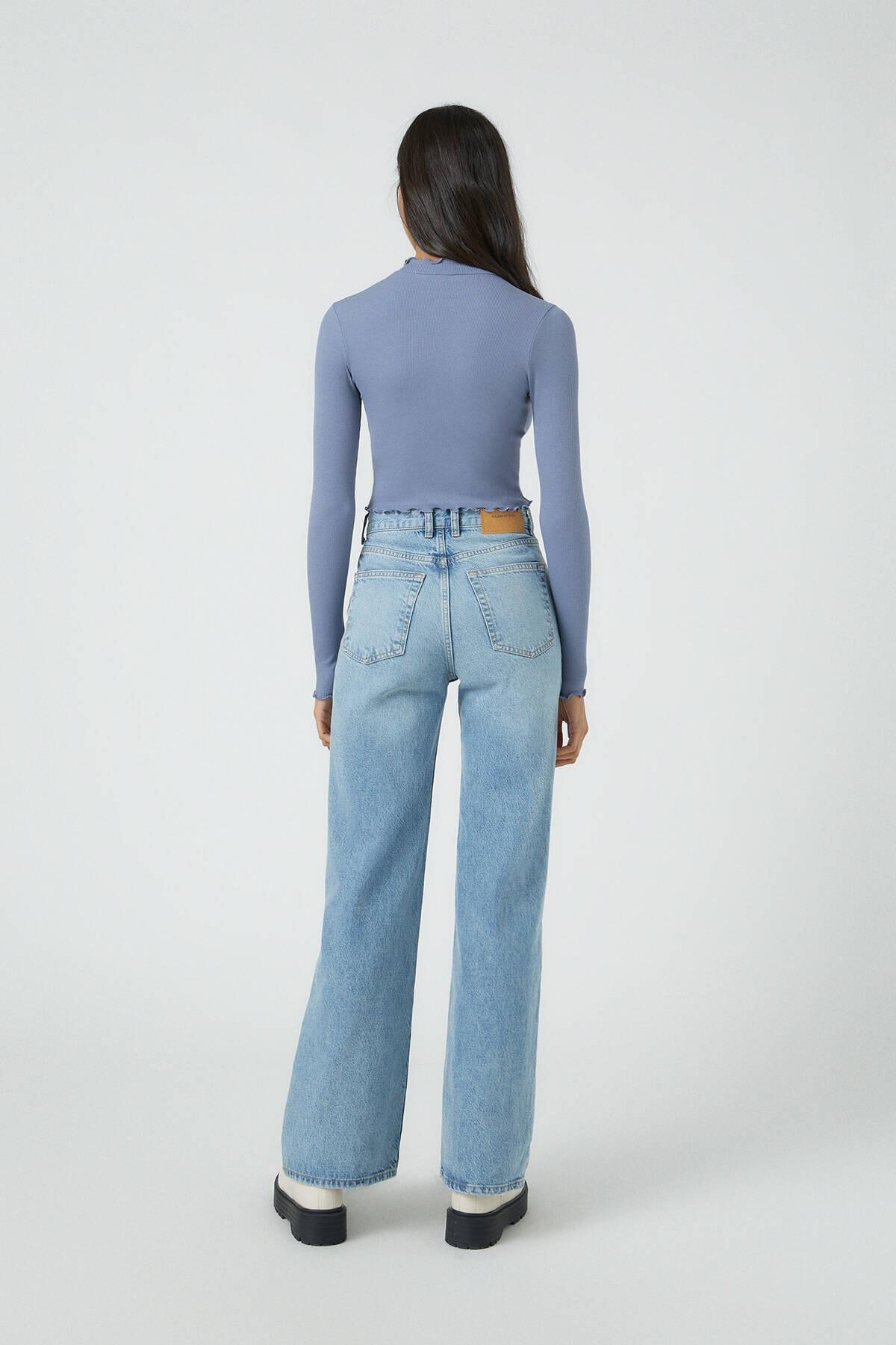 Pull & Bear Kadın Koyu Lacivert Kıvrımlı Kenarlı Uzun Kollu T-Shirt 09249310 2