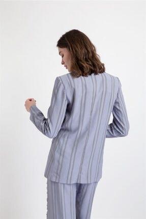 Rue Kadın Gri Çizgili Küt Form Ceket 2