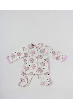 MG MİNİ GİYİM Kız Bebek Pembe Kuzulu Ayaklı Zıbın Takım 0