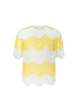 İpekyol Kadın Kırık Beyaz Color Block Güpür Bluz 3
