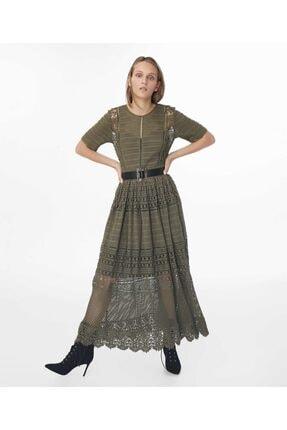 İpekyol Kadın Haki Transparan Güpür Elbise 0