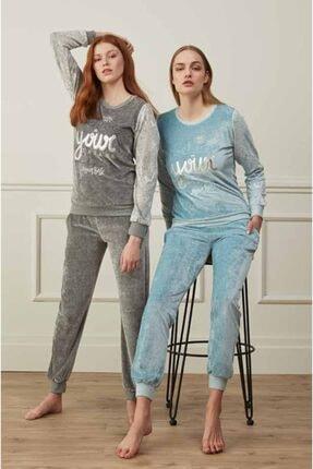 Feyza Kadın Gri Baskılı 2'li Pijama Takımı 1