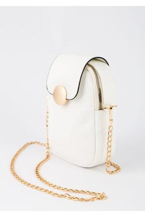 BAGzy Kadın Beyaz Telefon Bölmeli Gold Detaylı Omuz Çantası 0