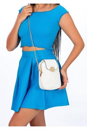 BAGzy Kadın Beyaz Telefon Bölmeli Gold Detaylı Omuz Çantası 3