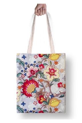 DesenBlue Çiçek Desenli Baskılı Yıkanabilir Ham Bez Çanta 0