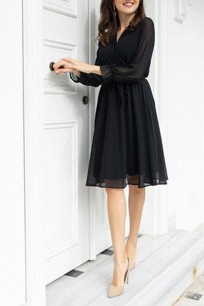 Elbise Delisi Siyah Kruvaze Yaka Şifon Büyük Beden Elbise 1