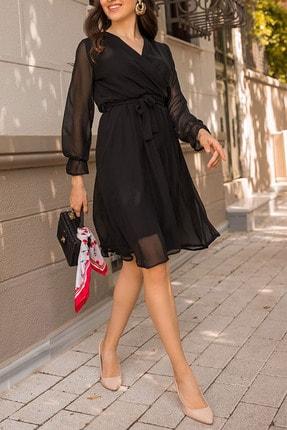 Elbise Delisi Siyah Kruvaze Yaka Şifon Büyük Beden Elbise 2