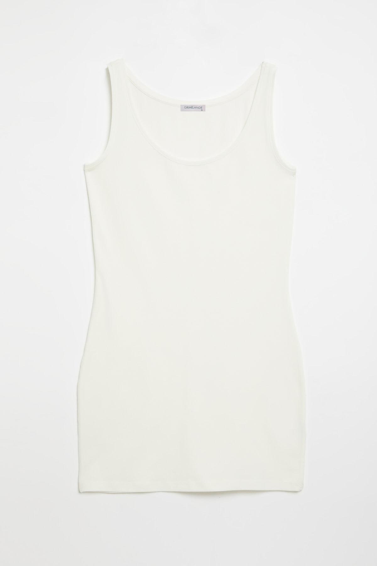 GRIMELANGE BELLA Kadın Beyaz Dar Kesim Uzun Kolsuz  T-Shirt 0