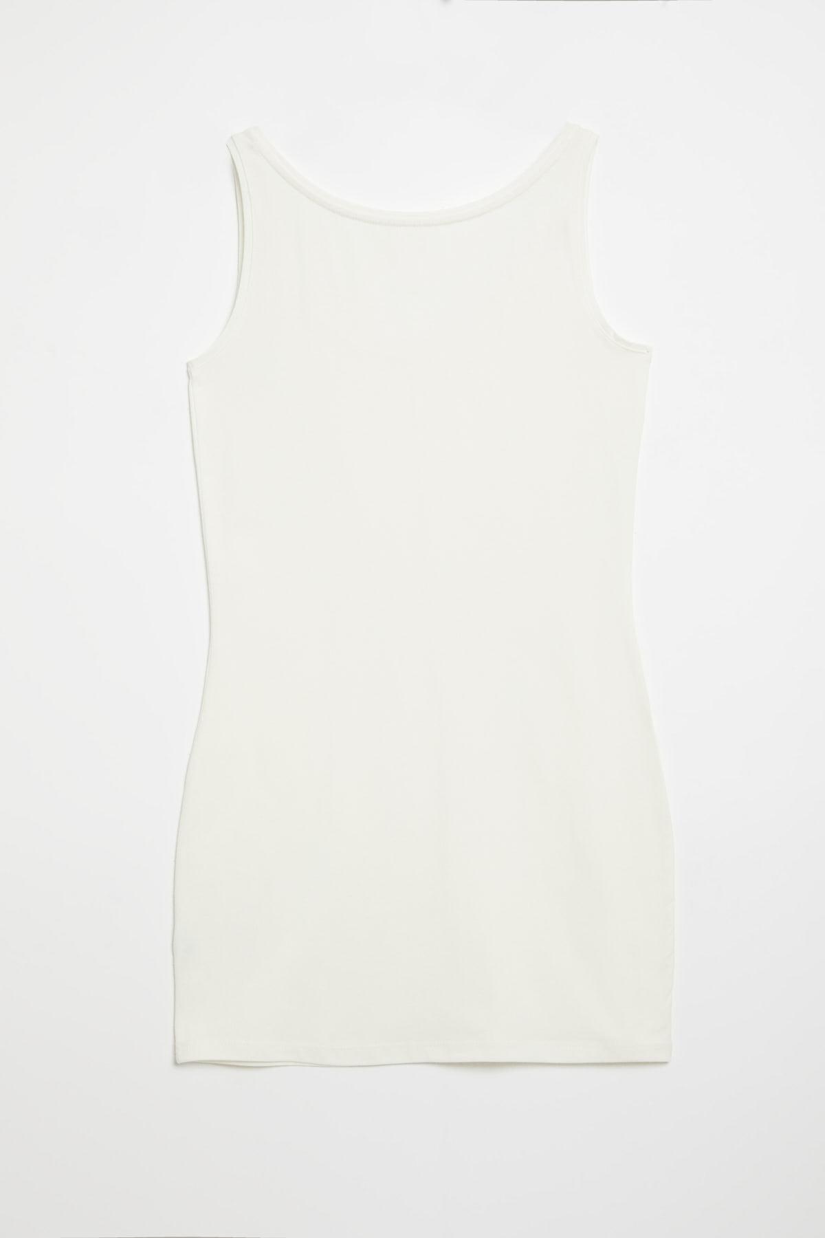 GRIMELANGE BELLA Kadın Beyaz Dar Kesim Uzun Kolsuz  T-Shirt 1