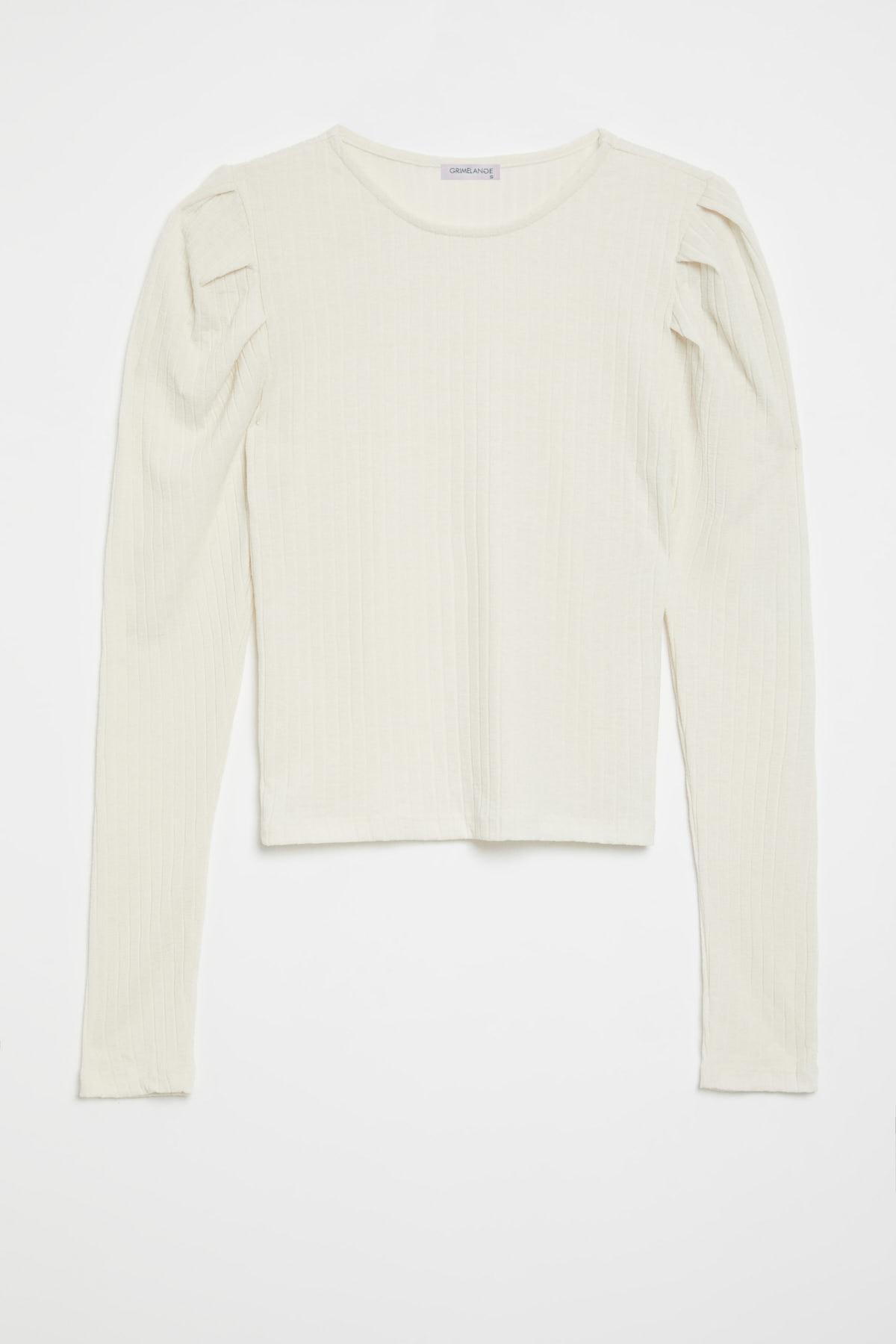 GRIMELANGE KIEV Kadın Beyaz Kolları Pileli Triko Görünümlü Uzun Kollu Bluz 0