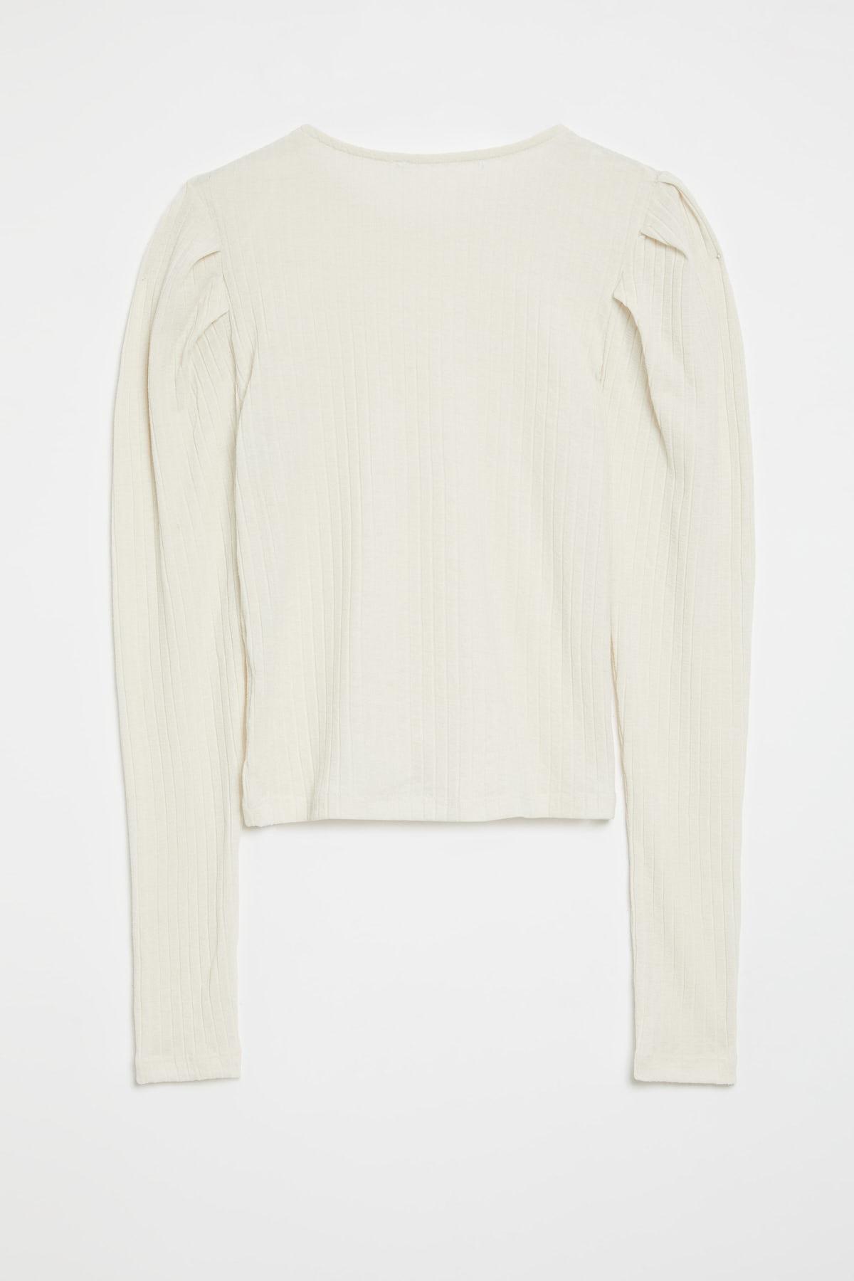 GRIMELANGE KIEV Kadın Beyaz Kolları Pileli Triko Görünümlü Uzun Kollu Bluz 1