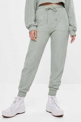 Bershka Kadın Haki Ajurlu Örgü Jogger Pantolon 2