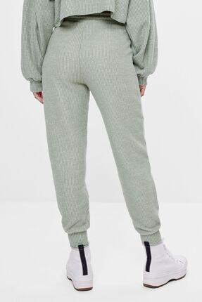 Bershka Kadın Haki Ajurlu Örgü Jogger Pantolon 3