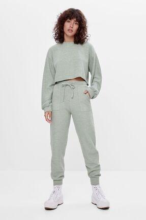 Bershka Kadın Haki Ajurlu Örgü Jogger Pantolon 0