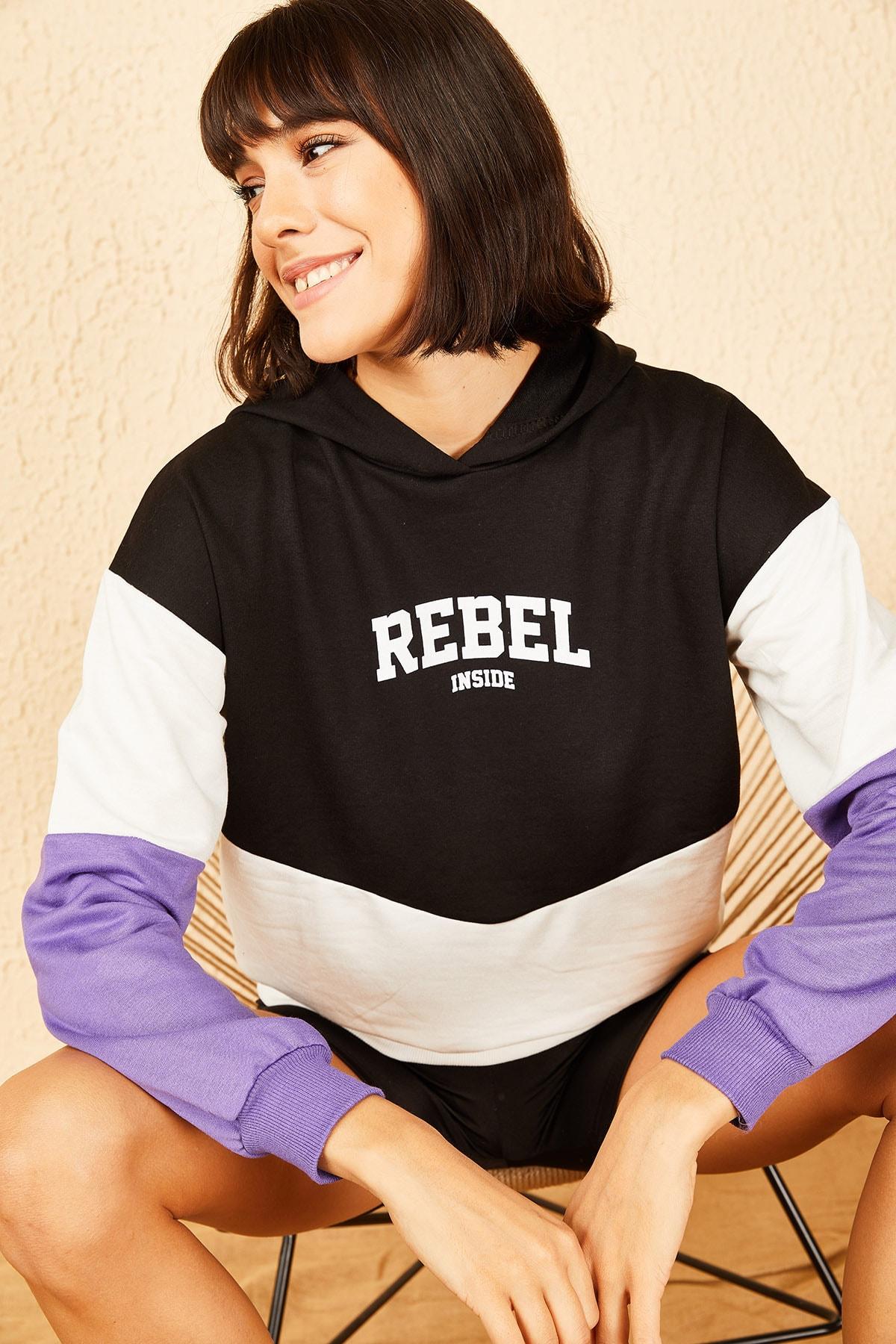 Bianco Lucci Kadın Lila Kapüşonlu Rebel Baskılı Sweatshirt 10141036 0