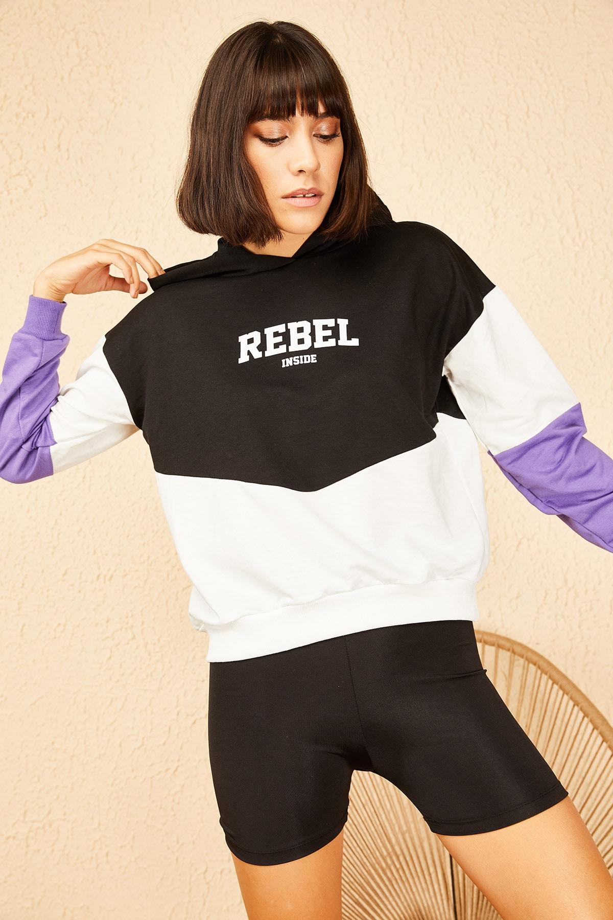 Bianco Lucci Kadın Lila Kapüşonlu Rebel Baskılı Sweatshirt 10141036 2