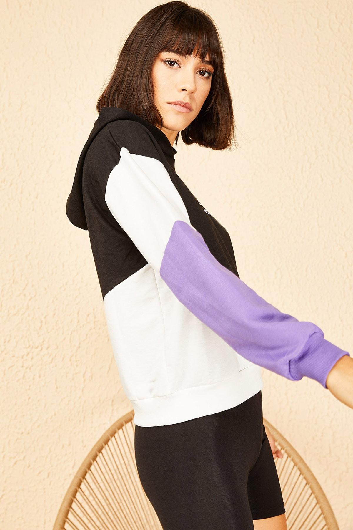 Bianco Lucci Kadın Lila Kapüşonlu Rebel Baskılı Sweatshirt 10141036 3