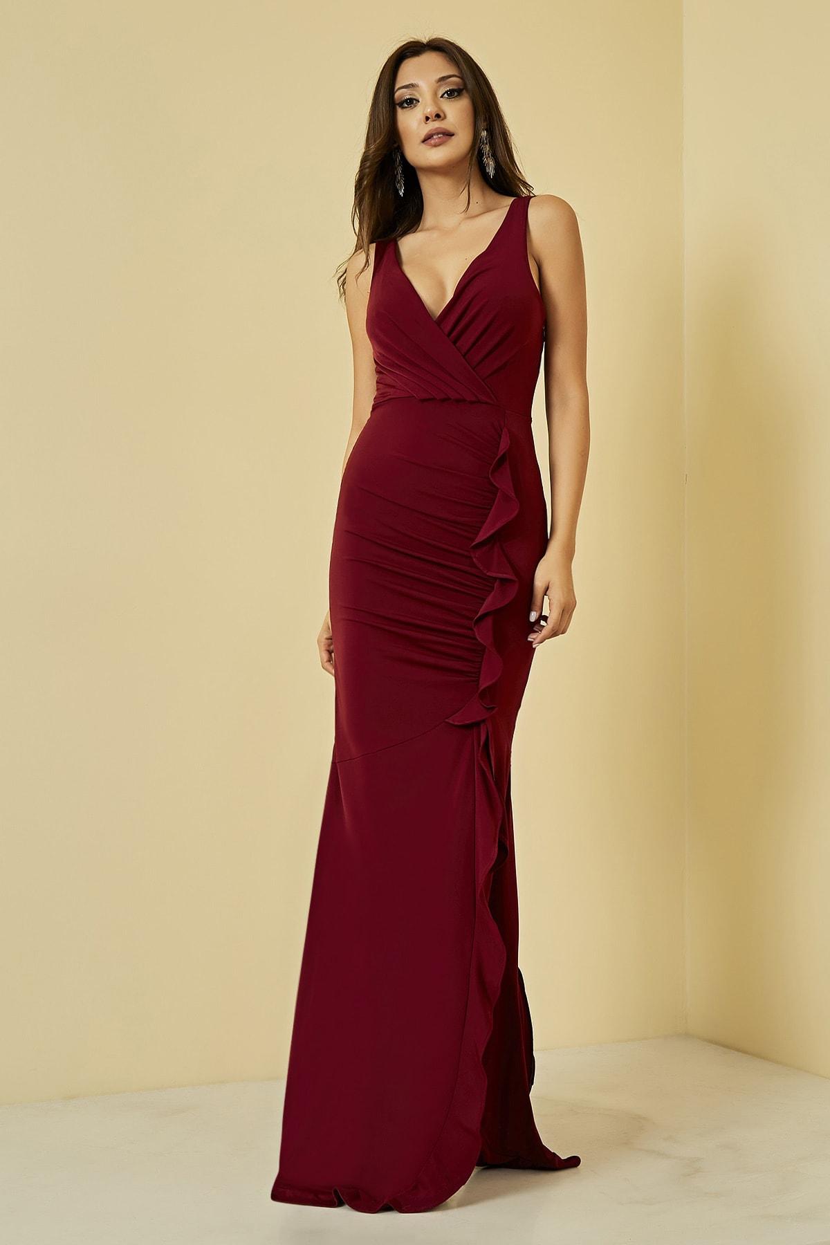 Sateen Kadın Bordo Fırfırlı Yırtmaçlı Uzun Abiye Elbise  STN107KEL120 1