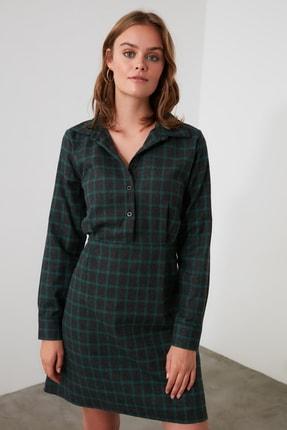 TRENDYOLMİLLA Haki Kuşaklı Gömlek Yaka Elbise TWOAW21EL1754 1