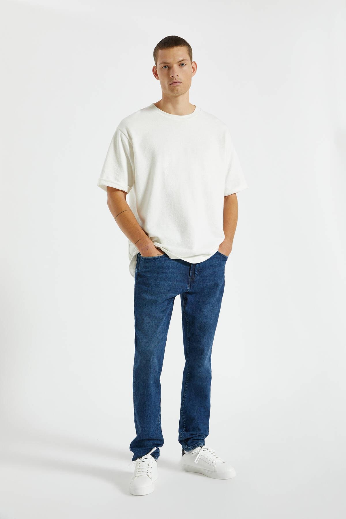 Pull & Bear Erkek Koyu Mavi Comfort Slim Fit Jean 09683530 0