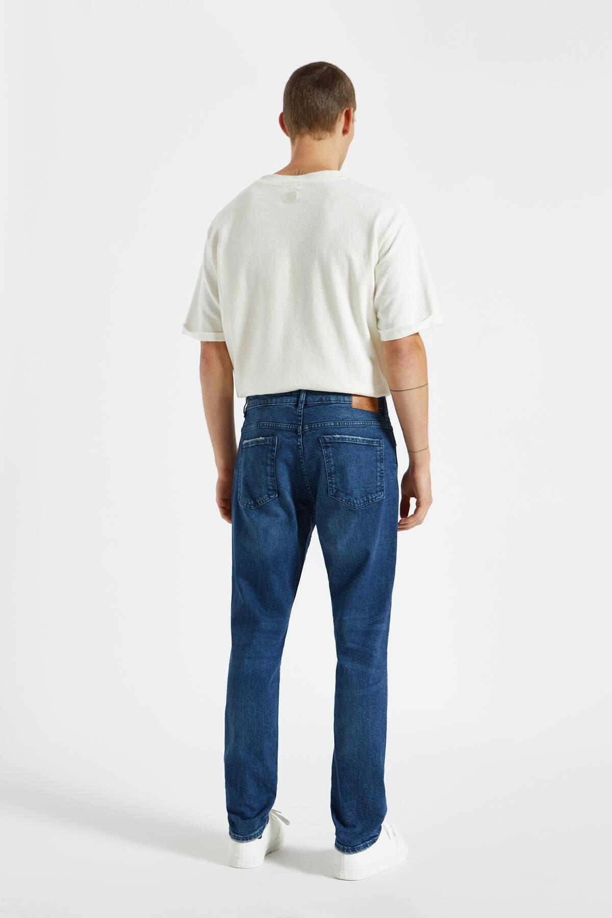 Pull & Bear Erkek Koyu Mavi Comfort Slim Fit Jean 09683530 3