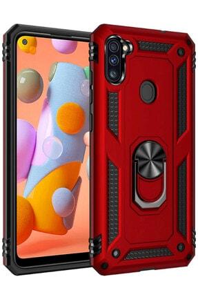 Cekuonline Samsung Galaxy M11 Kırmızı Yüzüklü Mıknatıslı Tank Kılıf Ve Mermer Popsocket 0