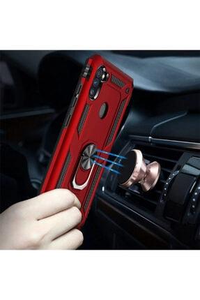 Cekuonline Samsung Galaxy M11 Kırmızı Yüzüklü Mıknatıslı Tank Kılıf Ve Mermer Popsocket 1