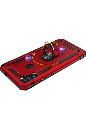 Cekuonline Samsung Galaxy M11 Kırmızı Yüzüklü Mıknatıslı Tank Kılıf Ve Mermer Popsocket 3