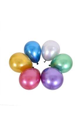 araget Krom Parlak Balon 16 Inç Gümüş Renk 40 Cm. Mirror Ayna Balon 5 Ad 1