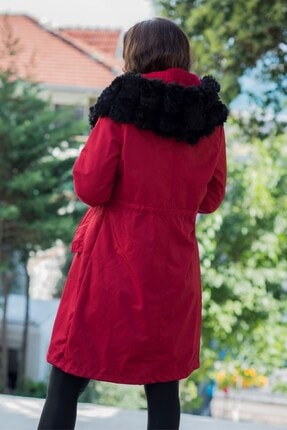 Keyifli Moda Kadın Bordo Su Geçirmez Içi Kürklü Kapüşonlu Siyah Kürk Yaka Kaban 2