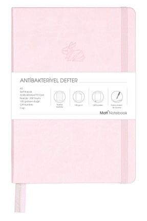 Matt Notebook A5 Antibakteriyel Defter Noktalı Pembe 0