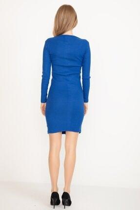 D-Paris Kadın Saks Mavisi Kare Yaka Düğmeli Elbise 2