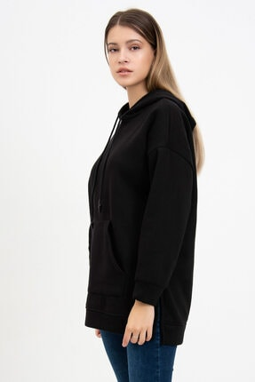 Mossta Kadın Siyah Kanguru Cepli Kapüşonlu Sweatshirt 2