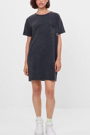 PULLMARK Kadın Antrasit Asit Yıkamalı Kısa Elbise 2