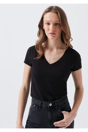 Mavi V Yaka Siyah Basic Tişört 0