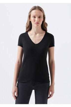 Mavi V Yaka Siyah Basic Tişört 2