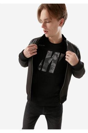 Picture of Deri Detaylı Scuba Siyah Ceket