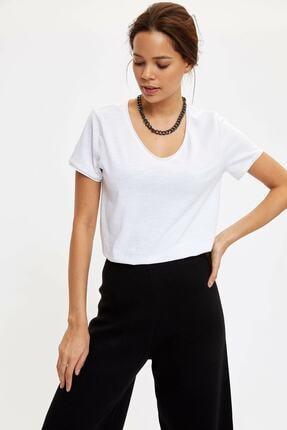 Defacto Kadın Beyaz V Yakalı Kısa Kollu T-shirt 1