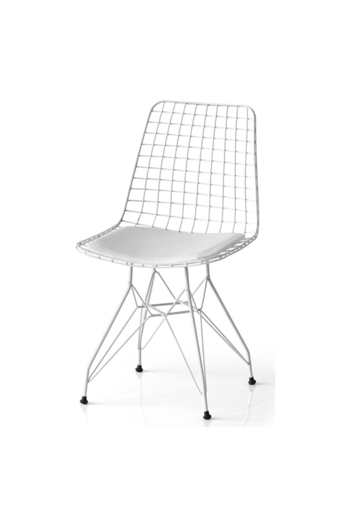 Beyaz Tel Mutfak Sandalyesi